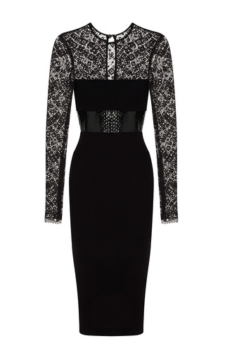 Medium alex perry black mabelle lace long sleeve plastic satin crepe pencil dress