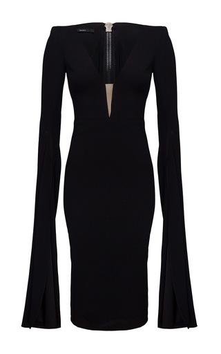 Medium alex perry black paige open v satin crepe long sleeve split pencil dress
