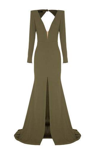 Medium alex perry khaki francoise open v satin crepe long sleeve fishtail gown
