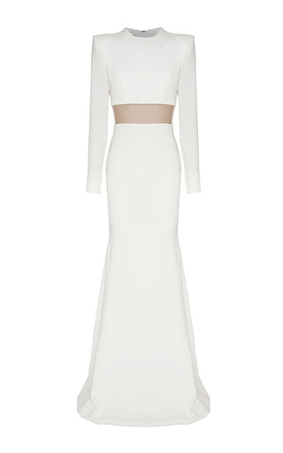 Medium alex perry white jasmyne satin crepe crew long sleeve fishtail gown