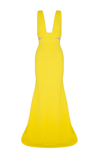 Medium alex perry yellow lise satin crepe v neck gown