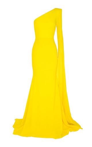 Medium alex perry yellow aurore satin crepe split one shoulder long sleeve fishtail gown