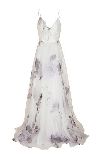 Medium alex perry multi cherie floral organza silk reptile bikini ruffle gown