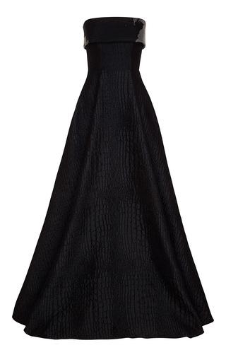 Medium alex perry black aveline silk reptile w floral organza strapless gown