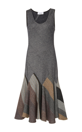 Medium derek lam 10 crosby grey check blanket godet tank dress