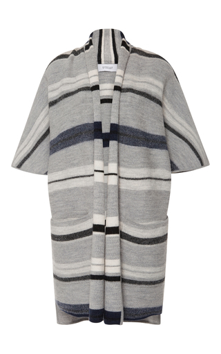 Medium derek lam 10 crosby light grey menswear blanket stripe short sleeve cardigan