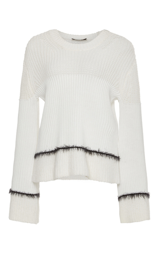 Medium derek lam 10 crosby white ribbed stripe crewneck sweater with mohair