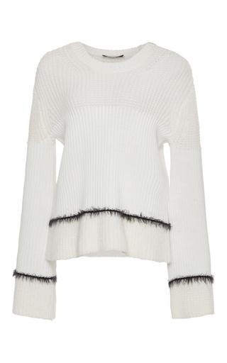 Medium derek lam 10 crosby white ribbed stripe crewneck sweater with mohair