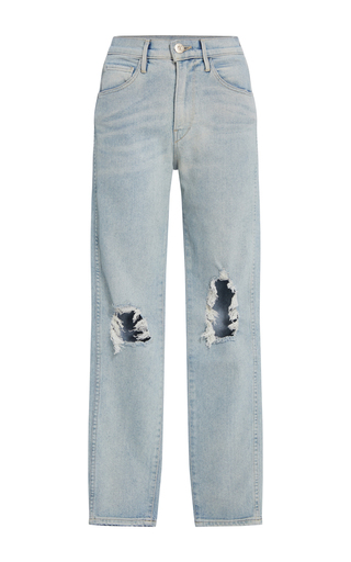 Medium 3x1 light wash w3 distressed high rise jeans