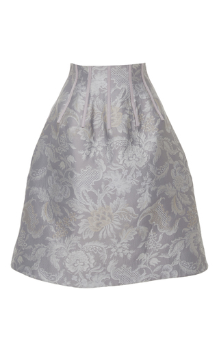 Medium oscar de la renta light grey floral a line skirt
