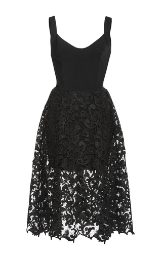Medium oscar de la renta black sleeveless lace dress