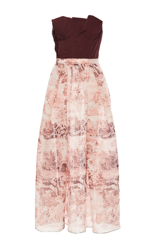 Medium oscar de la renta print strapless floral cocktail dress 3