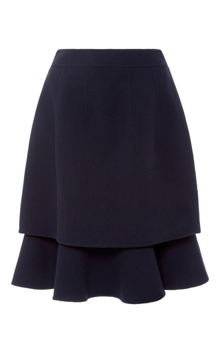 Medium oscar de la renta navy ruffle midi skirt