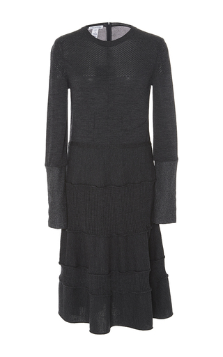 Medium oscar de la renta dark grey long sleeve knit dress