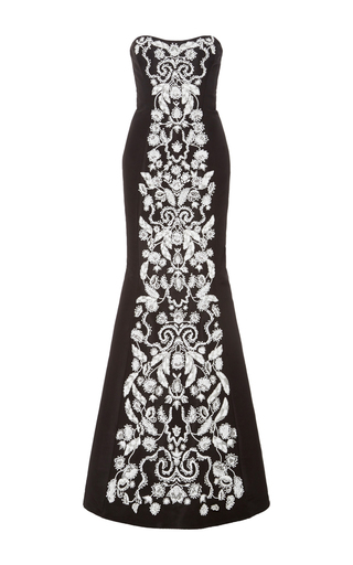 Medium oscar de la renta black white strapless floor length gown
