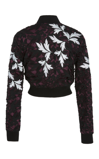 Cropped Lace Bomber Jacket by SELF PORTRAIT Now Available on Moda Operandi