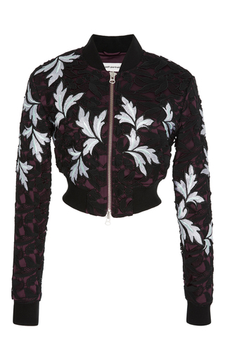 Medium self portrait multi cropped lace bomber jacket