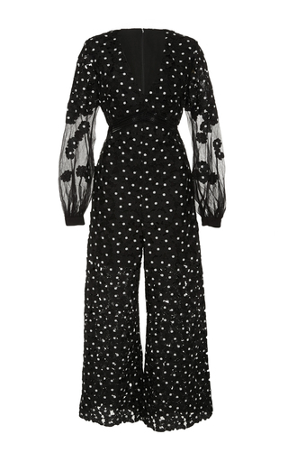 Medium self portrait print daisy dot long sleeve jumpsuit