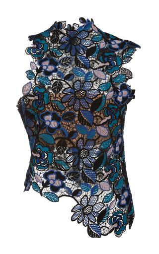 Medium self portrait blue celeste lace asymmetric top