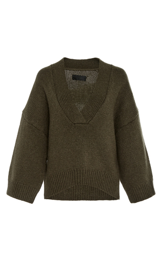 Medium nili lotan dark green logan cashmere sweater
