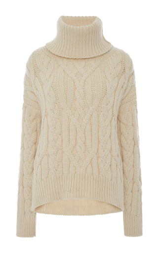 Medium nili lotan tan adaline cableknit turtleneck