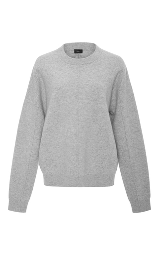 Medium joseph light grey wool compact knit sweater