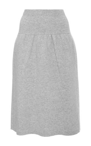 Medium joseph light grey boiled wool pleated skirt
