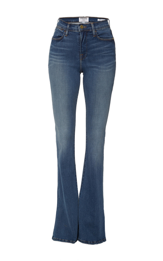 Medium frame denim medium wash le high rise flare jeans