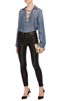 Le Lace Up Chambray Blouse by FRAME DENIM Now Available on Moda Operandi
