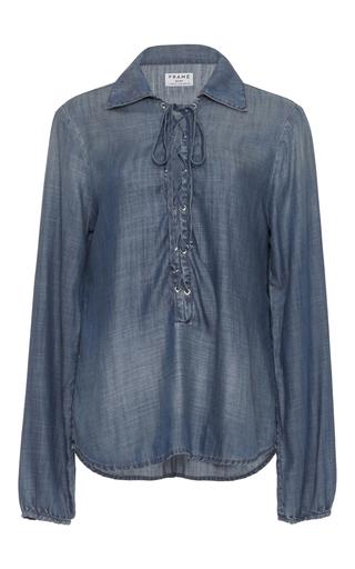 Medium frame denim blue le lace up chambray blouse