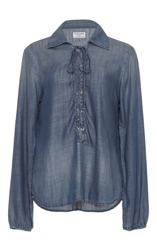 Medium frame denim blue le lace up chambray blouse