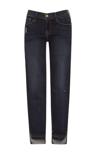 Medium frame denim dark wash le skinny de jeanne released hem stagger