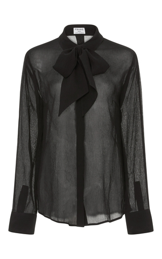 Medium frame denim black le chiffon tie blouse