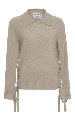 Medium frame denim tan le side tie sweater