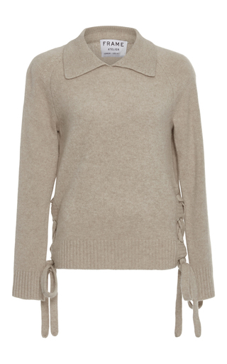 Medium frame denim tan le side tie sweater