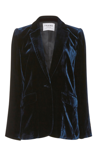 Medium frame denim navy le mod velvet blazer