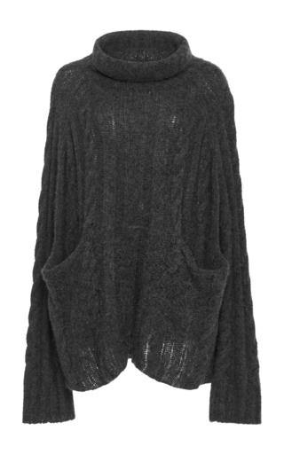 Medium frame denim dark grey le cableknit turtleneck sweater