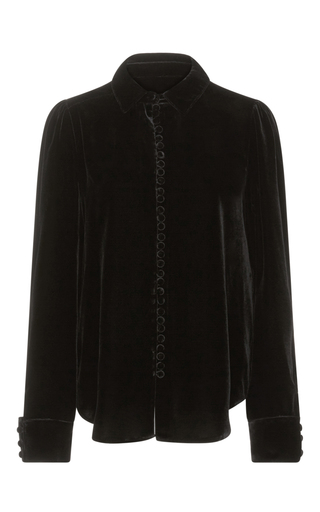 Medium frame denim black le velvet blouse