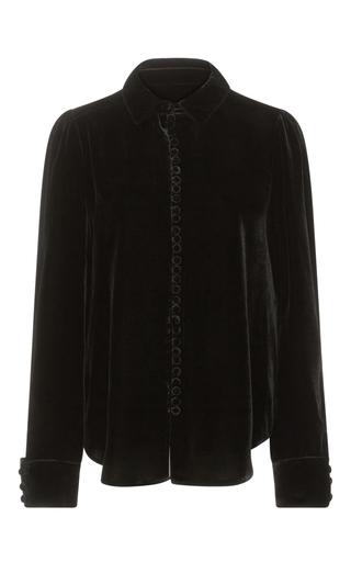 Medium frame denim black le velvet blouse