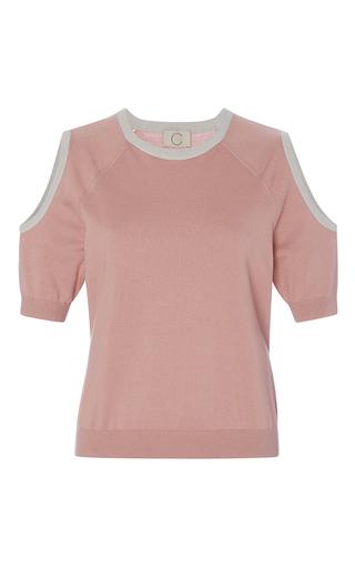 Medium chris gelinas pink open shoulder crewneck knit  2