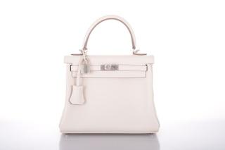 222d29a63dc0 25cm Craie Kelly Hermes Bag by Hermes Vintage