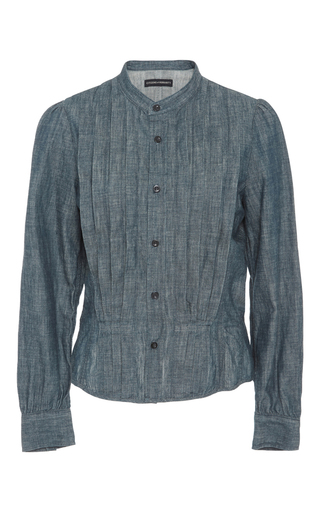Medium citizens of humanity blue tami pleated blouse