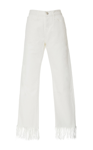 Medium 3x1 white wm3 straight cropped fringed jeans