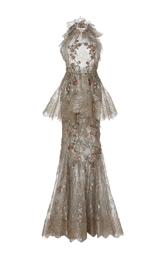 Medium marchesa brown metallic lace fishtail gown