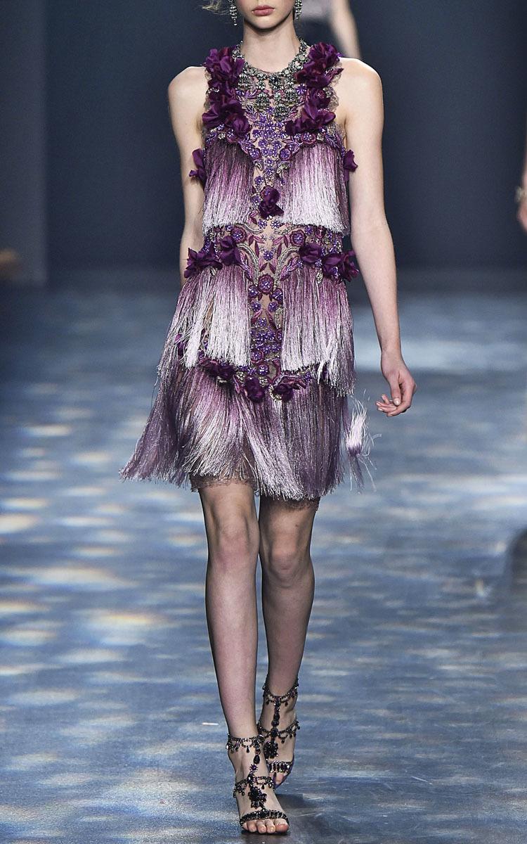 Ombré Fringe Cocktail Dress by Marchesa | Moda Operandi