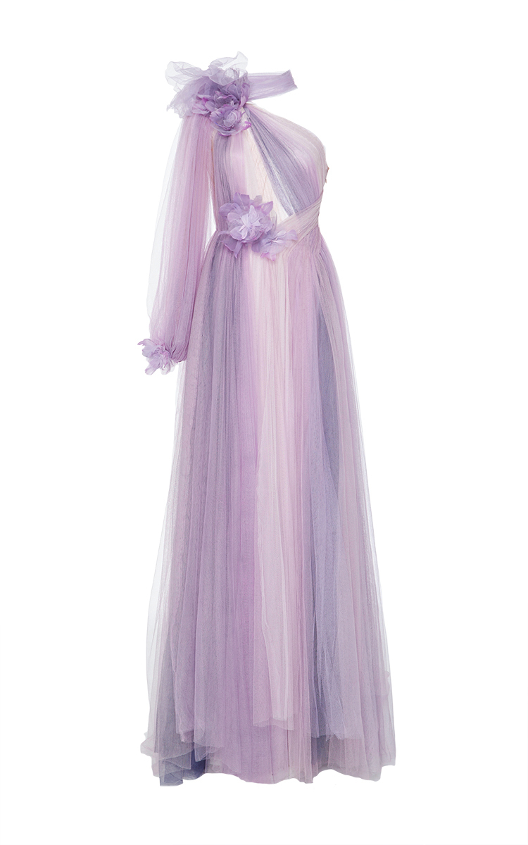 76b58aa9 Tulle Grecian Gown With Flowers by Marchesa | Moda Operandi