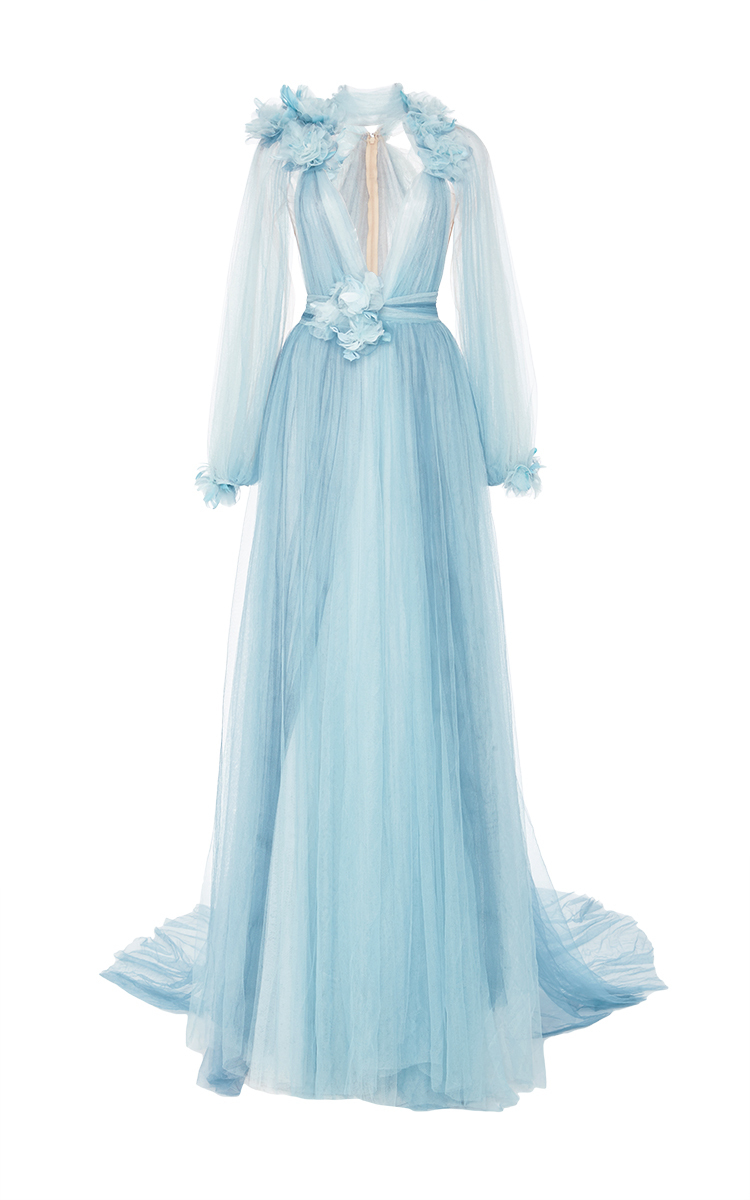 Tulle Grecian Gown With Billowing Sleeves By Marchesa