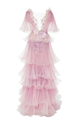 Medium marchesa pink ombre wire hemmed pleated tulle gown