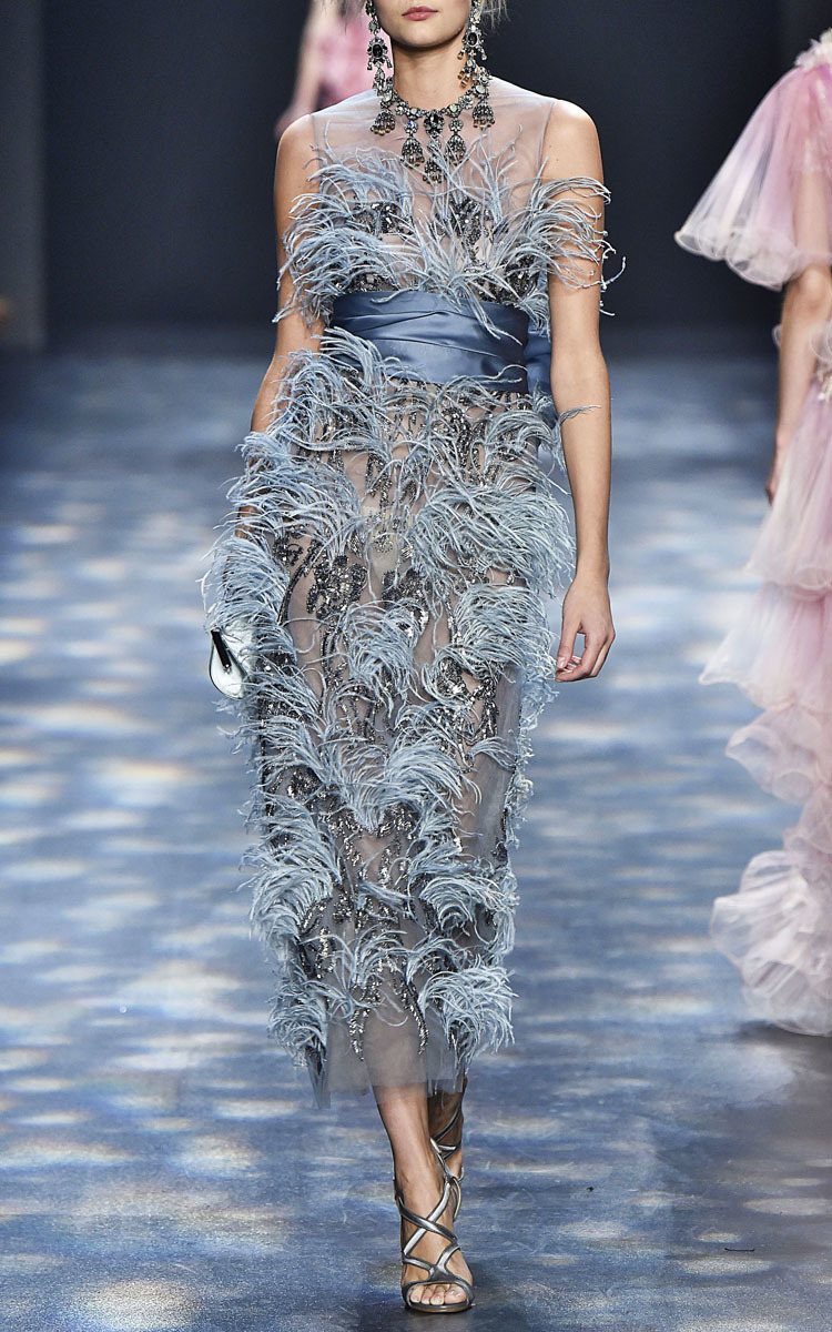 Ostrich Feather Mini Dress Marchesa 2018 New For Sale Cheapest Price For Sale DmPVWmDV39