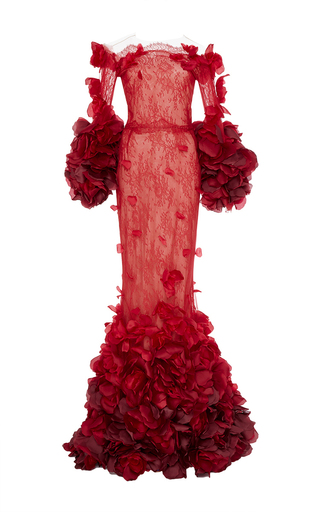 Medium marchesa red ombre chantilly lace fishtail gown
